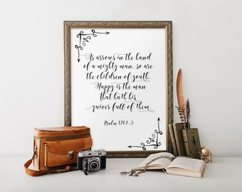 Christian Wall Art, Bible Verse, Psalm 127:4-5, Scripture Art Print Wall Decor, Arrow Quote, Bible Verse Print, Home Decor Room Decor BD-601