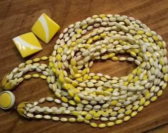 SALE! Vintage Lucite 5-Strand Necklace~ Yellow & White, Bonus Earrings (WAS 15.00)