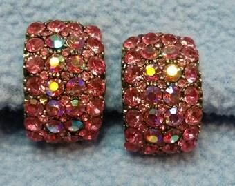 Stunning Pink Rhinestone Clip Earrings