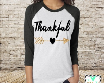 Thankful Shirt with Glitter Accent - Thanksgiving Shirt - Unisex Raglan - Thanksgiving top, Give thanks top, Gobble Gobble Top RUNS LARGE