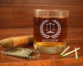 Engraved Lawyers Rocks Glass, Scales of Justice, Custom Rocks Glasses, Personalized Lawyer Glasses, Gifts for Lawyers, Whiskey Glasses