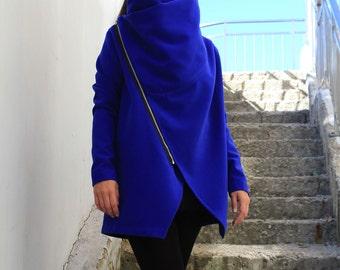 Blue Coat/ Asymmetrical coat/ Winter Outerwear/ Warm winter Coat/ Women Coat/ Winter Jacket/ Short Coat/ Large Cowl Neck / by Fraktura C0015