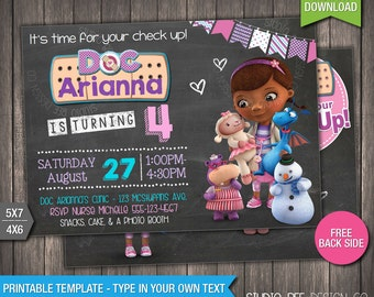 Doc McStuffins Invitation - INSTANT DOWNLOAD - Printable Chalkboard Doc McStuffins Birthday Invite - DIY Personalize & Print - (DMin03)