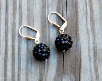 Black Crystal Ball Earrings, Black Crystal Earrings, Crystal Ball Earrings, Crystal Earrings