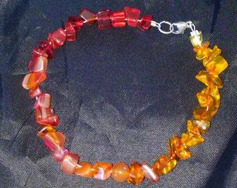 Carnelian, bracelet with, sterling silver, clasp.
