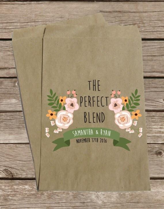 Coffee Favor Bags for Wedding, Treat Bags, Kraft Brown Bags