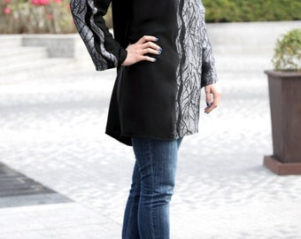 Bounty Tunic / Modest Tunic / Long Sleeve Tunic / Jacquard Tunic / Crepe Tunic / Plus Size Tunic / Black Tunic with Long Sleeves / Loose Top