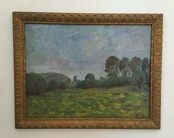 Sale! English Countryside Post Impressionist Landscape Original Oil Painting Signed Framed
