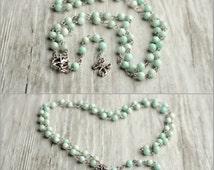 Amazonite rosary necklace Mint gemstone jewelry 5 decades communion rosary Long catholic necklace Prayer Beads Religious Jewelry Gift under