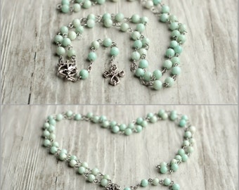 amazonite necklace rosary necklace communion rosary long catholic necklace prayer beads religious jewelry woman gift mom gift catholic gift