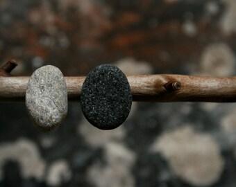 Mismatch Studs - Sparkling Beach Stone - Fossil Jewelry