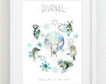 Diurnal Animals Art Print