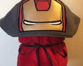 Iron Man Hooded Towel - Hooded Towel - Iron Hero - Boys Towel - Personalized Towel - Children's Hooded Towel - Redrockcraftswy
