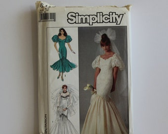 RESERVED for FEYI Mermaid Style Wedding Dress, Vintage  1987 Simplicity Pattern, Wedding Gown,Formal Dress Pattern, Uncut, GladstoneCottage
