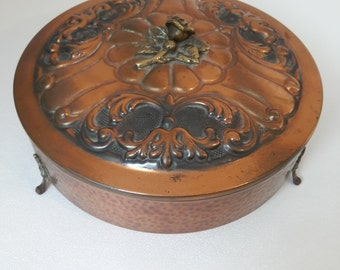 antique big french round copper box