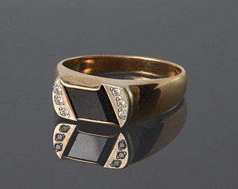 Black onyx ring, Onyx gold ring, Onyx ring men, Onyx signet ring, Onyx gold jewelry,Men ring gold, Art deco ring men, Signet men ring