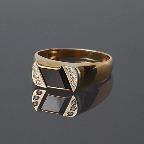 Black onyx ring yx gold ring yx ring men yx signet