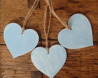 Wooden Hanging Hearts, Handpainted, Home Decor, Shabby Chic