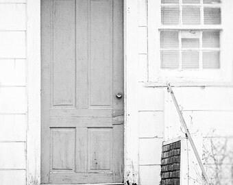 Black and White Wall Art, Door Photo, Shabby Chic Wall Decor, Black and White Photography, Black and White Door Print, Shabby Chic Art Print