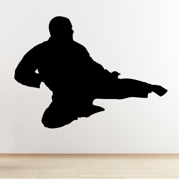 Taekwondo wall sticker flying kick martial arts wall sticker - Flying Kick Wall Sticker Taekwondo Karate Mixed Martial