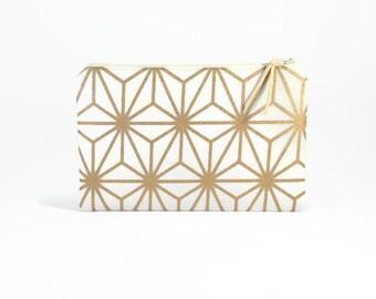 Bridesmaid Clutch, Gold, Womens wallet, Bridesmaid gift idea, Zipper clutch, Purse organiser, Large wallet clutch, Gold zipper pouch