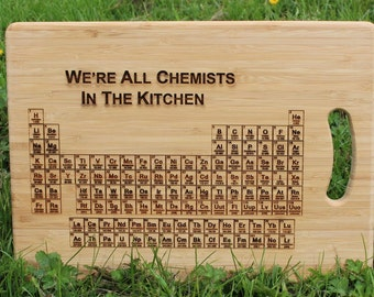 Periodic table etsy uk periodic table of elements were all chemists in the kitchen personalised chopping urtaz Images