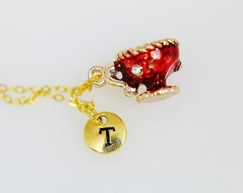 Gold Teacup Pendant Charm Necklace | Red  Teacup Charm Necklace | Initial Necklace | Tea Party Jewelry Gift | Teacup Jewelry | Personalized