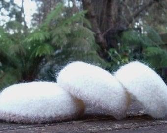 Cool Cream Felted Wool Mini Nesting Bowls - set of 3