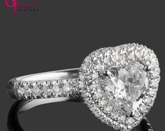 1.70 Carat Heart Shaped Diamond Engagement Ring, Heart Cut Diamond Ring, Double Halo Engagement Ring, Pave Set Diamonds, 18k White Gold