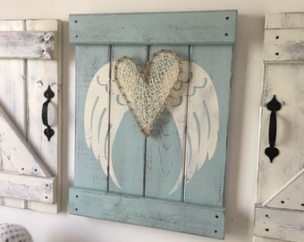 Wooden Angel Wings Wall Decor angel wings decor | etsy