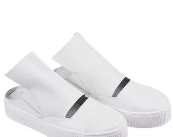 White Shoes/ Leather Flats/ Platform Sandals/ Slip On Shoes/ Flat Sandals/ Cut Out Shoes/ Summer Shoes/ Hipster Flats/ Boho Chic Shoes