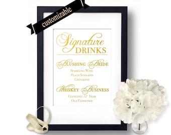 Wedding decor, Wedding drink signs, Wedding Signature Drinks, Custom Wedding Signs, Gold Wedding, Wedding bar signs idea, drink sign