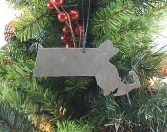 Massachusetts Slate Christmas Ornament