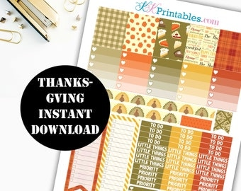 Thanksgiving Printable Planner Stickers // Erin Condren Printable / Plum Paper Planner / Thanksgiving Printable Digital Download 00121