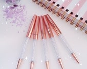 Diamonds Ballpoint Pen : CLEAR Crystals ROSE GOLD Metal Pen Gems | Back To School | Office Planner Desk Accessories.
