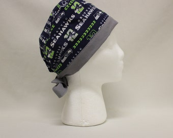 Seattle Navy and Silver Sports Ball Surgical Dentist Scrub Cap Chemo Hat