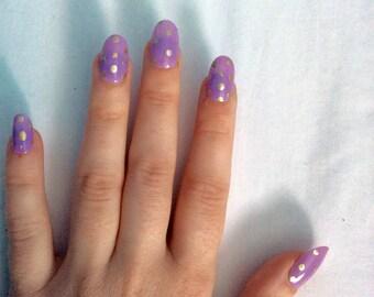 Pink and gold polka dot handmade false nails