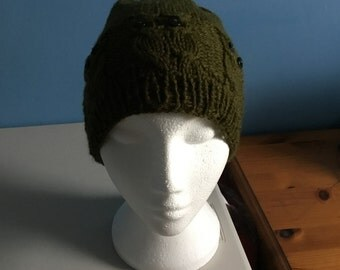 owl hat, knit owl hat, green hat, animal hat, Spring wear, gift idea, gift for her, headwear, accessories, handmade,