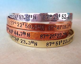 Custom Coordinates Bracelet, Latitude longitude bracelet, GPS Coordinates Bracelet, Coordinate Jewelry, Coordinate Gift, Red Fern Studio