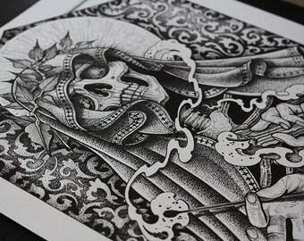 "Tattoo Print - ""Death Trader"" by Mariusz Romanowicz / art print,dark art,dark,gothic art,skull art,horror art"