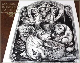 """Tattoo Print - """"It's a swine World!"""""""