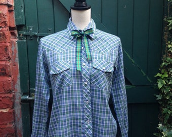 Amy Barr Ladies' Western Shirt in Blue and Green Plaid