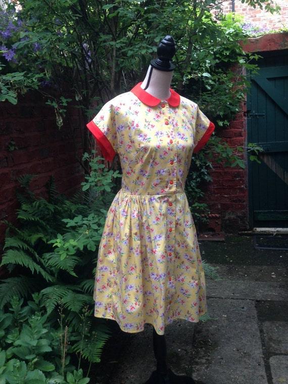 English Garden Party Dress. Retro Yellow By EnglishRoseAndThorn