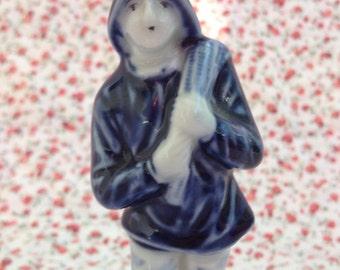 Vintage Ceramic Delft Blue Seaman Figurine