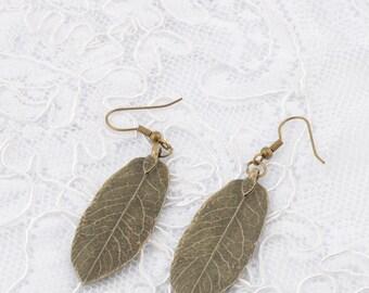 Leaf Earrings Dangle Boho Earrings Leaf Dangle Earrings Bronzes Leaf Earrings Botanical earrings  Nature jewelry Bridesmaid Earring