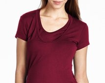 Hello Miz Short Sleeve Double Layered Round Neck Ruched Nursing Top