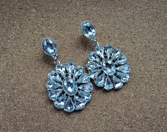 Bridal Rhinestone Silver Statement Earrings, Nickel Free, Hypo Allergenic, Formal, Prom, New Years, Wedding, Chandelier, Dangly, Long