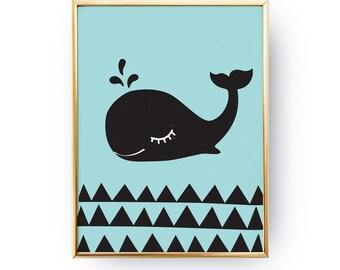 Whale Poster, Cute Whale, Whale Wall Prints, Children Print, Nautical Nursery, Kids Wall Art, Whale Print Art, Nursery Art, Kids Wall Decor.