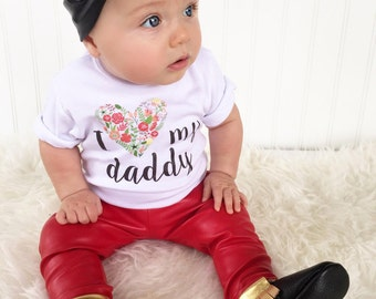 I Love My Daddy Baby Clothing. Baby Girl Romper with Flower Heart Print. Baby Girl Clothes. Gift for Dad. Long or Short Sleeve Baby Tee.