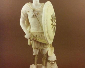 Alexander the Great Alabaster patina aged sculpture Statue artifact